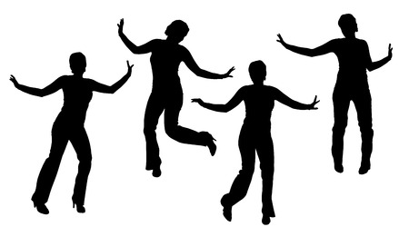 zumba: Vector silueta de una mujer que baila. Vectores