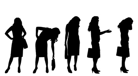 Vector silhouette of a businesswoman on a white background. Vector