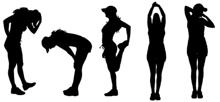 young female: Vector silhouette of woman who practicing on a white background.