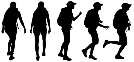 Vector silhouette of woman with backpack on white background Vector