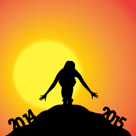 the turn of the year: Vector silhouettes of woman at the turn of the year. Illustration