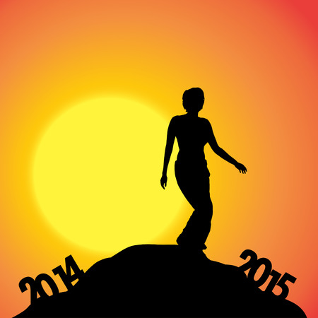 Vector silhouettes of woman at the turn of the year. Vector