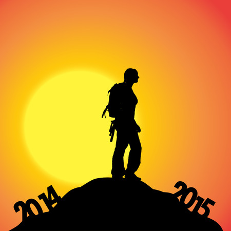 turn of the year: Vector silhouettes of woman at the turn of the year. Illustration