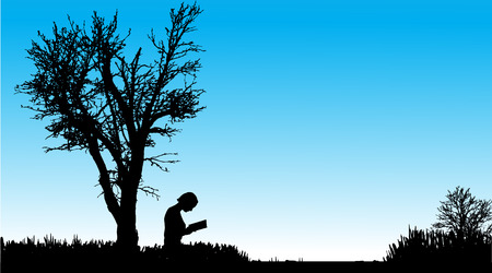 Vector silhouette of the woman who reads in nature.