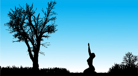 Vector silhouette of a woman who trains in nature. Vector