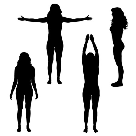 happy healthy woman: Vector silhouette of woman who practicing on a white background.