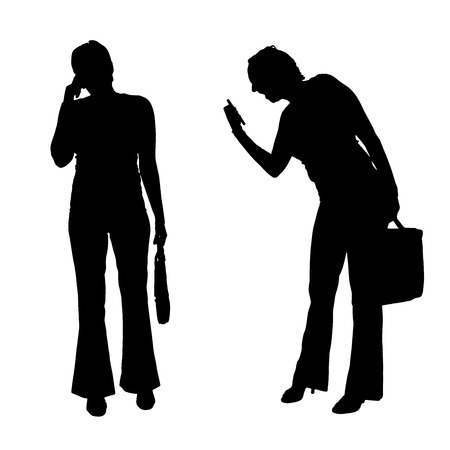 ire: Vector silhouette of a businesswoman on white background.