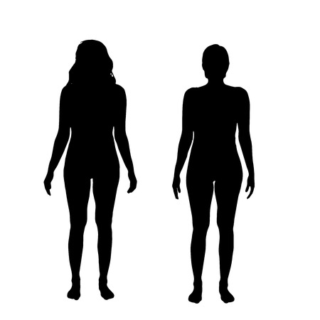 nude model: Vector silhouette of a woman on white background.