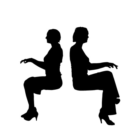 sits: Vector silhouette of woman who sits on white background.