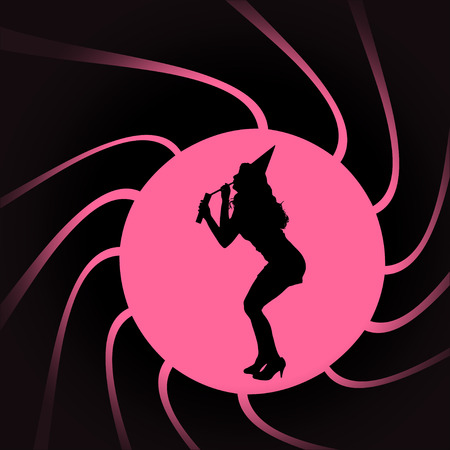Vector silhouettes of woman in a circular frame. Vector