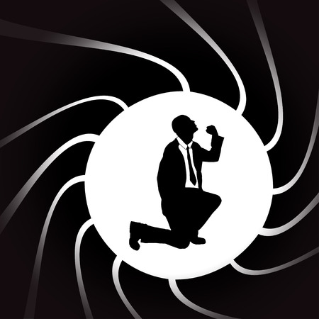 american background: Vector silhouettes of man in a circular frame.
