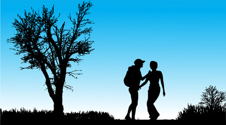 couple hiking: Vector silhouette of a woman outdoors on a sunny day.