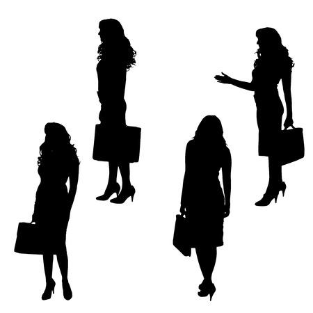 mujer con maleta: Vector silueta de una mujer de negocios en el fondo blanco.