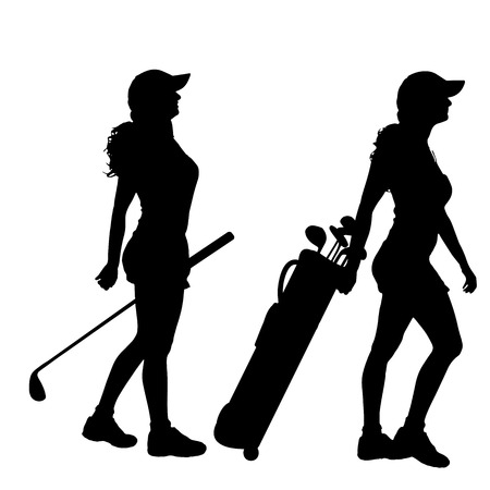 woman golf: Vector silhouette of the woman who plays golf.