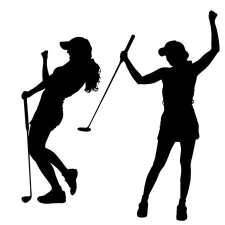 happy healthy woman: Vector silhouette of the woman who plays golf.