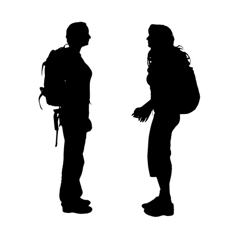student travel: Vector silhouette of woman with backpack on white background. Illustration