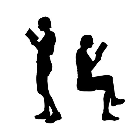 Vector silhouette of woman who reads a book. Vettoriali