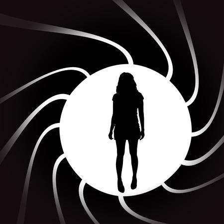 striptease: Vector silhouettes of sexy woman in a circular frame.