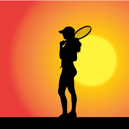 backhand: Vector silhouette of the woman who plays tennis at sunset.