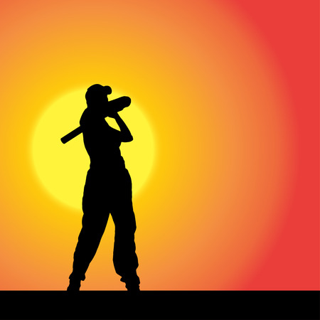 Vector silhouette of the woman who plays baseball at sunset. Vector