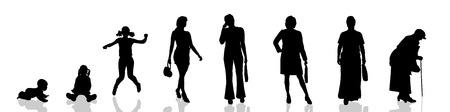 世代が進むにつれて女性のベクトル シルエット。