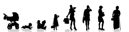adulthood: Vector silhouette of woman as generation progresses.
