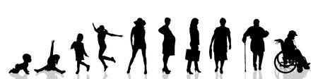 Vector silueta de la mujer como la generación progresa.