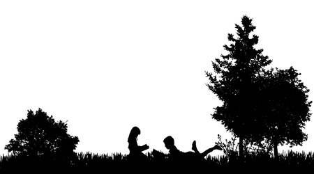 Vector silhouette of a friends who reads in nature. Stock Illustratie