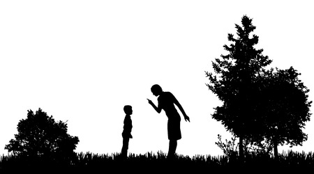 ire: Vector silhouettes of family in nature on white background.