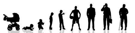 Vector silhouette of man as generation progresses. Vectores