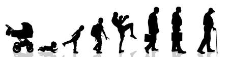 Vector silhouette of man as generation progresses. Illustration