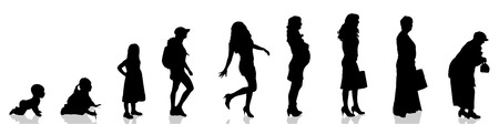 Vector silhouette of woman as generation progresses.