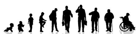 vie �tudiante: Vector silhouette de l'homme que la production progresse.