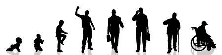 Vector silhouette of man as generation progresses. Stock Illustratie
