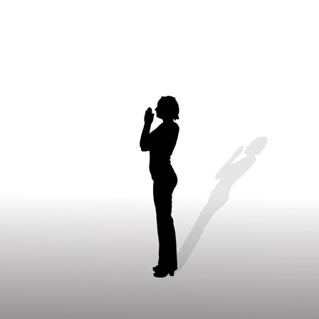 Vector silhouette of the woman who prays on a white background. Vector