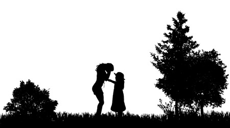 gril: Vector silhouettes of family in nature on white background.