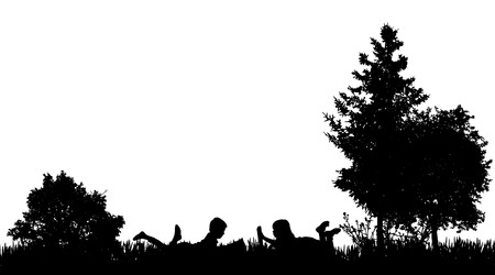 reads: Vector silhouette of a friends who reads in nature. Illustration