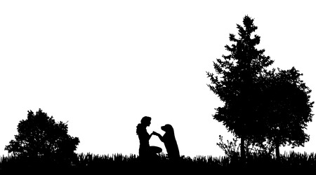 Vector silhouette of a woman with a dog in nature. 일러스트