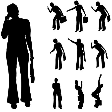 ire: Vector silhouette of a businesswoman on a white background.
