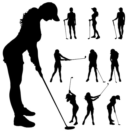 swing set: Vector silhouette of the woman who plays golf.