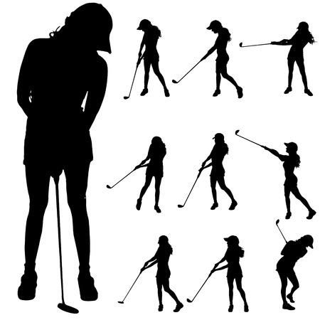Vector silhouet van de vrouw die golf speelt. Stockfoto - 33713436