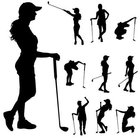 clubs: Vector silhouette of the woman who plays golf.