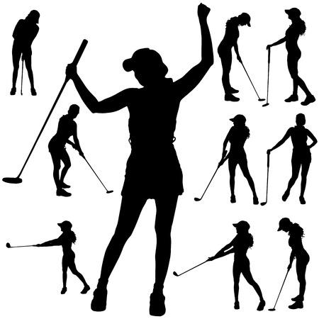 Vector silhouet van de vrouw die golf speelt.