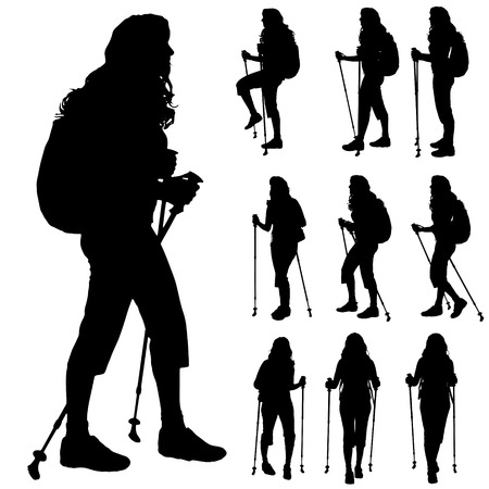 healthy woman white background: Vector silhouette of woman with Nordic walking.