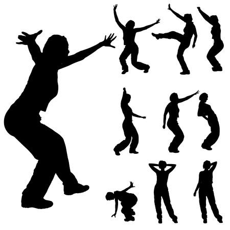 Vector silueta de una mujer que baila en un fondo blanco. Vectores