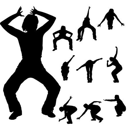 zumba: Vector silueta de una mujer que baila en un fondo blanco. Vectores