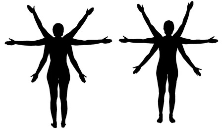 outstretched: Vector Silhouette of a woman who has many hands. Illustration