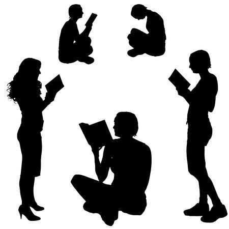 lectura: Vector de la silueta de una mujer que lee sobre un fondo blanco. Vectores
