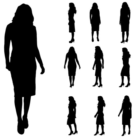 black white: Vector silhouette of a woman on white background.