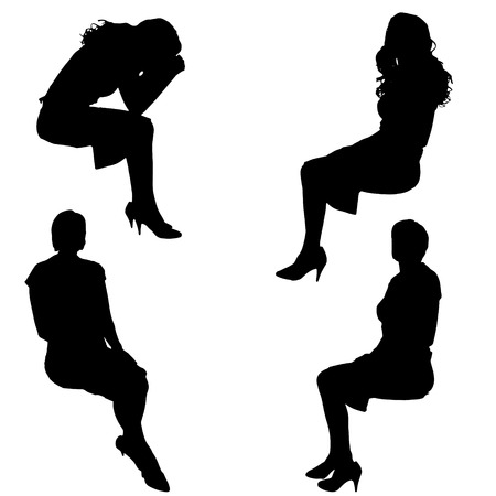 Vector silhouette of people who sit  on white background.